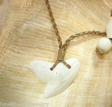 Large Genuine Mano Niuhi Tiger Shark Tooth Buffalo Bone Hawaiian Necklace Adj
