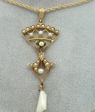 14K GOLD VICTORIAN LAVALIERE PENDANT WITH PEARLS (#1921)