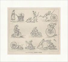 Radfahrers Lebenslauf Kinderwagen Karrikaturen Rollstuhl Spiel Holzstich E 16891