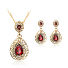 Luxurious Red GlassRhinestone Alloy Pearl Necklace Earrings Female Jewellery Set