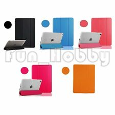 3 Fold PU Leather Color Cover with Clear Hard Back Cover Case for iPad Mini 2/3