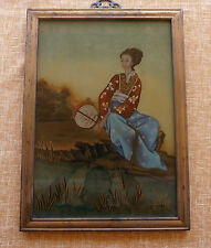 Painting Japanese woman , lady by a river, framed/ Pintura Japonesa, enmarcada