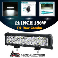 "TRI-ROW 12""INCH 180W LED WORK LIGHT BAR SPOT FLOOD COMBO OFFROAD TRUCK BUS BOAT"