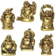 2''Set of 6 Bronze Color Feng Shui Laughing Paradise Buddha Figures Statue Luck