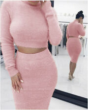2Pcs Women Top & Skirt Set Bodycon Dress Party Cocktail Knitted Sweater Dress