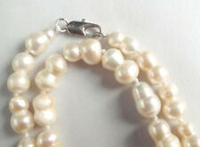 Natural 10-16MM Rare white BAROQUE CULTURED PEARL NECKLACE 18""