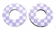 Flite old school BMX bicycle grip foam donuts CHECKERBOARD LAVENDER *MADE IN USA
