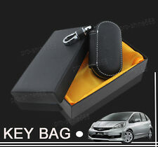 Black Car Key Holder Case Bag Cover Zipper Genuine PU Leather For Land Rover