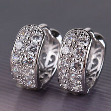 Luxury 18k white gold filled white topaz attractive women eternity hoop earring