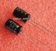 100PCS 470uF 25V Electrolytic Capacitor 105°C 8x12mm