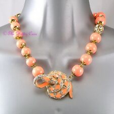 Coral Bead Enamel Snake Serpent Toggle Statement Necklace w/ Swarovski Crystals