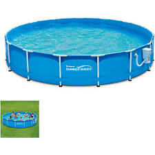 "Round Swimming Pool Set With Metal Walls Water Filter Pump 15"" Outdoor Play NEW"