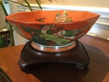 Antique Chinese Porcelain Bowl Jiaqing Mark with Wood Stand