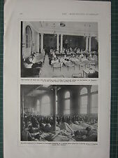 1916 WWI WW1 PRINT ~ CASINO TURNED INTO HOSPITAL RED CROSS ~ WOUNDED AT BOULOGNE