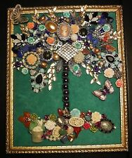 Jewelry Art Tree of Life, Butterflies, and plenty of Sparkle, signed by Artist