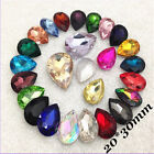 20*30mm Water Drop Rhinestones Point back Crystal Glass Chaton Strass 5ps