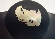 Vintage Mother of Pearl Pin Carved Shell Phoenix Bird Firebird Iridescent