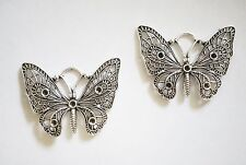 2 Large Metal Antique Silver Butterfly Charms /Pendants - 48mm x 36mm
