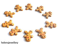 10 GINGERBREAD MEN FLATBACK CABOCHONS  - FAST FREE SHIPPING