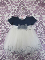 BABY GIRLS IVORY DRESS NAVY BOW PAGEANT CHRISTENING FLOWER GIRL WEDDING PARTY