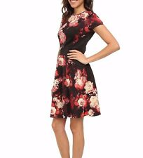 NEW  ADRIANNA PAPELL scuba floral color block zip back dress 22 w