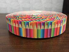 1m Pencils Colour Stripes Crayons Back to School 25mm Grosgrain Ribbon