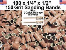 """100 - 150 Grit 1/4"""" Sanding Drums w/2 - 3/32"""" Mandrels for Dremel or ro"""