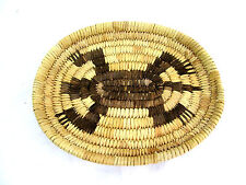 "Vintage Tohono O'Odham Papago Coiled Turtle Oval Tray Basket Handwoven 9"" x 7"""