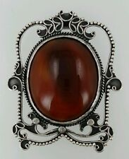 Vintage Handmade Middle Eastern Sterling Silver Pendant with Red stone