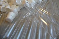 100 Count 16 x 100mm Plastic Test Tubes With White Caps, Crystal Clear, New