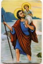Image pieuse plastifiée avec prière de l'automobiliste au dos Saint Christophe