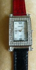 Chico's Watch Square Face Crystal Bezel Doublesided Red/ Black Leather Band