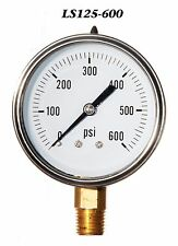 New Hydraulic Liquid Filled Pressure Gauge 0-600 PSI