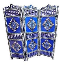 Moroccan Moucharabi Moucharabieh 3 Panel Room Divider Blue Screen