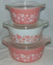Pyrex GOOSEBERRY PINK  *6 PC LARGE CASSEROLE SET w/LIDS*