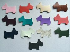 10 Scottie Dog Die Cut Leather Tags Charms Scrapbook