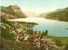 St. Gallen. Walensee. Weesen gegen Leistkamm und Alvierkette. Photochrome origin