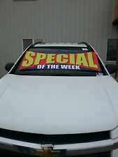 $ CAR DEALER LOT WINDSHIELD BANNER ADVERTISE BUCKO ~ Special of Week