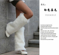 40cm Hot Fashion Faux Fur Leather Grass Leg Warmers Womens Shoes Cover---White