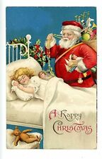 Happy Christmas -RED SUIT SANTA & SLEEPING GIRL-IAP Embossed Postcard Teddy Bear
