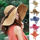Women Beach Hat Wide Brim Lady Derby Cap Floppy Foldable Summer Sun Straw Hat