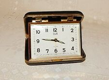 VINTAGE ELGIN WIND UP TRAVEL ALARM CLOCK w/ BLACK CASE~WORKS & KEEPS GOOD TIME