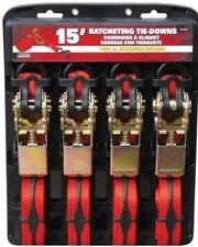 4 Ratcheting Tie-Down Strap Straps - Car Truck Bed Surfing Roof Bars Moving New