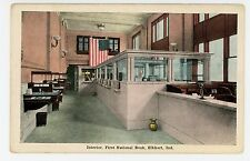 First National Bank ELKHART IN Antique Interior—American Flag ca. 1910s