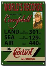 LGE A3 SIZE CASTROL WORLDS RECORD ENAMELLED METAL SIGN.SIR MALCOLM CAMPBELL.