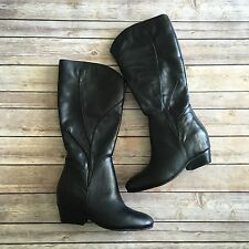 Naya Black Leather Boots Size 9 Low Heel Round Toe Mid Calf Classic