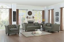 SLEEK BUTTON TUFTED GRAY GREY SOFA AND LOVE SEAT LIVING ROOM FURNITURE SET