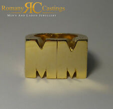 Men's Highly Polished personalized initial Ring  Solid 9ct Gold Hallmarked