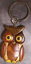 Intarsia Solid Wood Key Ring Animal Owl NEW