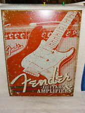 New Tin Sign- Fender Guitars & Amplifiers- Made in USA
